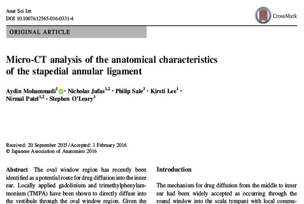 Anatomical Characteristics of the stapedial annular ligament