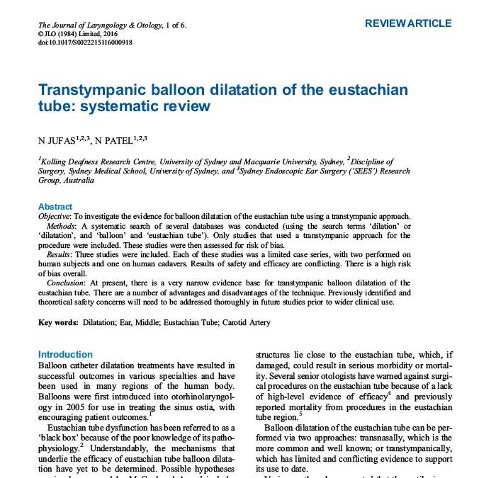 transtympanic balloon dilatation eustachian tube