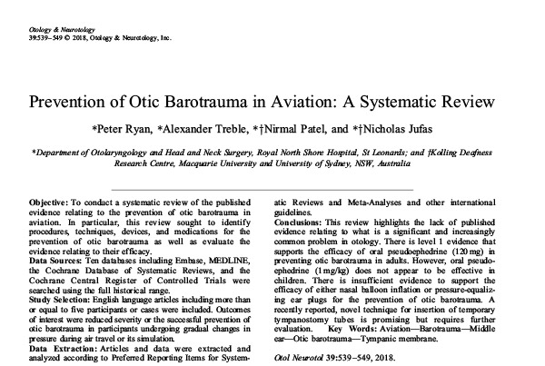 Prevention of Otic Barotrauma in Aviation: A Systematic Review